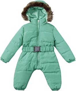 Baby Parka Jumpsuit Coat, Infant Newborn Zipper Down Puffer Onesies Hooded Thick Romper with Adjustable Belt