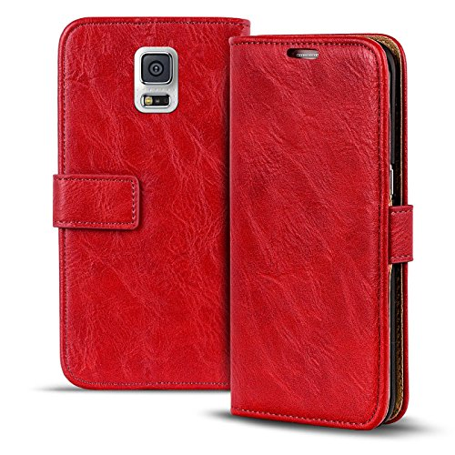 Conie Hülle für Samsung Galaxy S5 Neo, S5 Vintage Tasche Bookstyle Rot, PU Leder Handyhülle Galaxy S5 Neo, S5 Flip Case Wallet, Booklet Cover Etui, PU Leder, für Samsung Galaxy S5 Neo (5.1