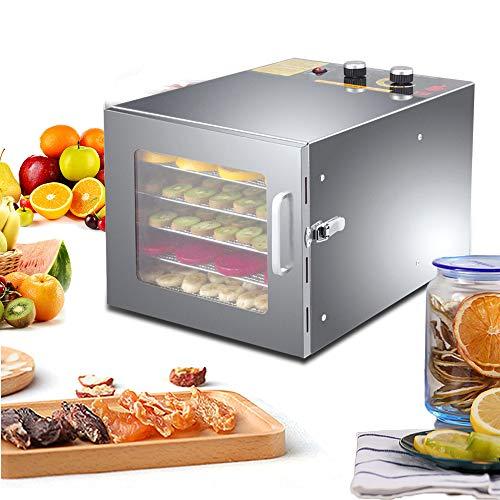 Voedseldroger, 600 W, roestvrij staal, dehydrator, fruitdroger, 6 etages, met timertijd (33 × 27 × 42 cm)