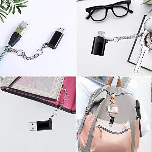 SZBHSKJ USB C Adapter auf USB 3.0 [4 Stück] USB C Adapter auf Micro USB,USB Typ C Adapter,OTG USB Typ C Adapter tragbar mit Schlüssel,für Huawei Mate 20,Samsung Galaxy LG (Schwarz)