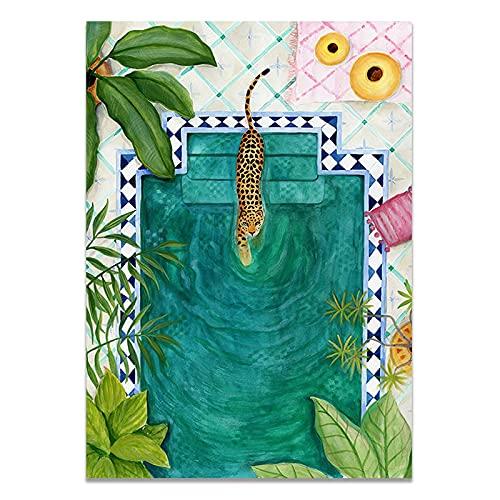 Nordic Fleur Plants Stockholm Style Art Canvas målning Poster Vardagsrum och kafé dekoration 50x70 cm (19,68x27,55 in) S-315