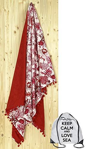 tex Family - Toalla de playa doble Kikoy coral rojo de algodón y esponja con mochila Keep