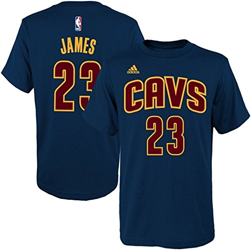 adidas Lebron James Cleveland Cavaliers Kid's Navy Jersey Name and Number T-Shirt Medium 5-6