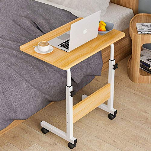 AJH - Mesa de ordenador para oficina, moderna, minimalista, impermeable, portátil, mesa de centro ajustable, mesa de noche, escritorio para niños aprender, polea, natural, 60 x 40 cm