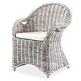 KMH®, Schöner Korbstuhl/Korbsessel Athen (Weiss) mit robustem Bambusgestell - inklusive Sitzkissen! (#400185)