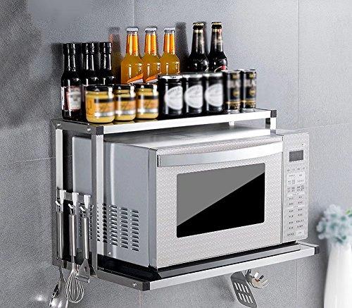 MAIKA HOME - Wandmontierter Edelstahl-Mikrowellenherd / 2-stöckige Küchenregale/Backofenständer / zweistöckiges Gewürzregal (Größe-B: 35,5 * 36 * 59,5 cm)