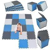 Mshen18 piezas alfombra puzzle bebe con certificado ce y certificación eva | puzzle suelo bebe | puede ser lavado goma eva,tamaño 1. 62 cuadrado,blanco-azul-gris-aglg18
