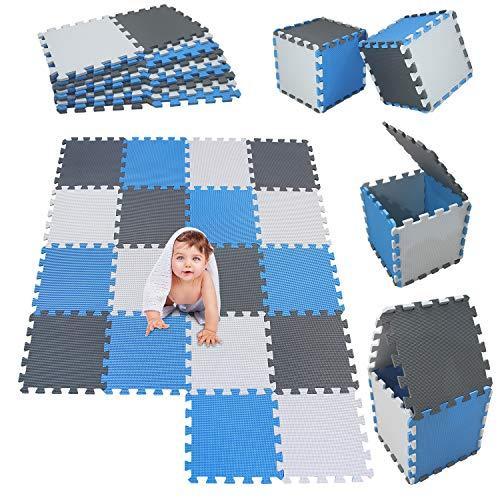 MSHEN 18 Stück Puzzlematte | Kälteschutz,abwaschbar Kinderspielteppich Matte | puzzlematte Baby Trainingsmatte.Größe 1,62 Quadrat.Weiß-Blau-Grau-AGLg18