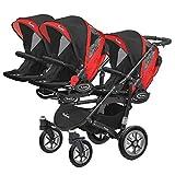 Kinderwagen für Drillinge Säugling und ältere Zwillinge 1 Gondel 3 Sportsitze Trippy Kinderwagen 2in1 schwarzer Rahmen (schwarz rot 03)