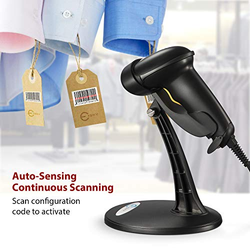 Esky USB Automatic Barcode Scanner Scanning Reader Wired Handheld/Handfree 1D Laser Bar Code USB Wired for POS System Sensing and Scan Black with Adjustable Stand,For Store, Supermarket, Warehouse Photo #7