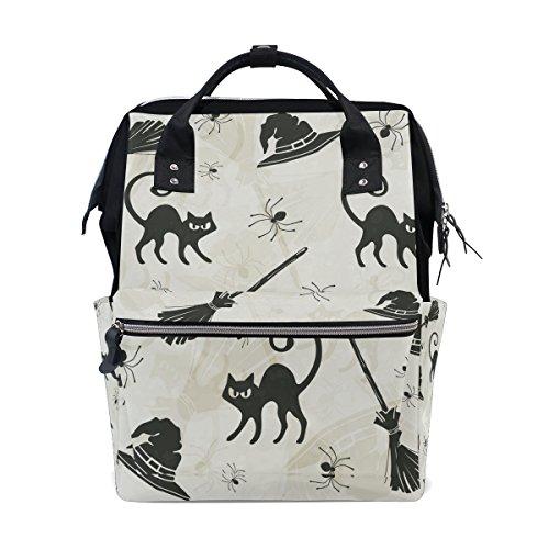 tizorax Halloween Katzen Besen und Hexe Hüte Windel Rucksack Große Kapazität Baby-Bag Multifunktions-Wickeltaschen Mom Rucksack Reisen für Baby Care