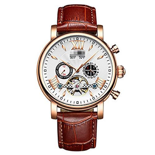 Reloj De Calendario Perpetuo, Relojes Mecánicos para Hombre Tourbillon para Hombre, Relojes Automáticos para Hombre 24cm Oro Blanco marrón