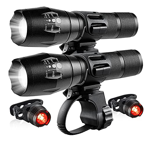 2 Pack Bicycle Light Set Super Bright Adjustable Zoom Bike Lights Front and Rear LED Headlight Torches Included Mount