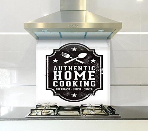 Entrepaños de cocina con mensaje «Authentic Cooking», de cristal, negro, 600mm width...