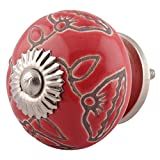IndianShelf Handcrafted 16 Pieces Ceramic Calla Lily Etched Red Knobs for Bathroom Cabinet Kitchen Wardrobe Pulls Artistic