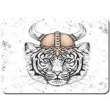 Antideslizante Alfombra De Baño,Tigre Animal Inconformista con un Casco Vikingo Dibujo a Mano bozal de Tigre,Alfombra de Cocina Alfombra Mascota,Alfombras de Ducha 75x45cm