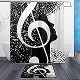 Duschvorhang & Vorleger mit abstrakten Musiknoten, schwarz-weiß, wasserdicht, Polyester, Duschvorhang schokoladenbraun