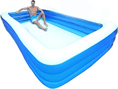 Inflatable Swimming Pools, Inflatable Kiddie Pools, Family Swimming Pool, Summer Water Party for Kids, Adults, Toddlers, Outdoor, Garden, Backyard (4.2m/157X71X22 in)