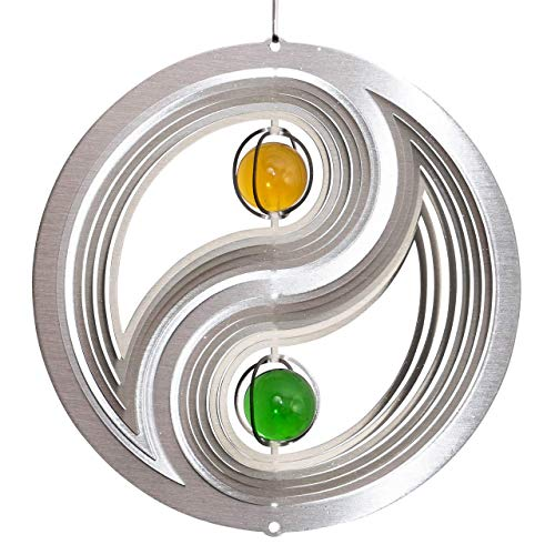 CIM Edelstahl Windspiel - ORBIT YIN YANG 200 - Ø 200 mm - durchgefärbte Glaskugeln Ø30mm - inkl. Nylonschnur, Haken und Kugellagerwirbel - Winter