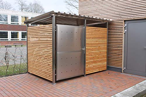 KIRCHBERGER METALL Fahrradgarage Mülltonnenhaus Überdachung Gerätehaus Gr. 1 m. Holzverkleidung Schwenktür mit Stützfußverlängerung