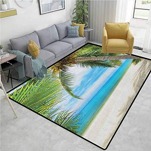 YucouHome - Alfombrillas geométricas para Puerta, diseño de Tortuga Marina Nadando en el océano Tropical bajo el Agua, impresión de ilustración de acuarios, a la Moda, Color Verde y marrón