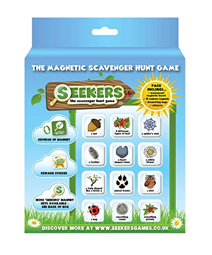 SEEKERS Scavenger Hunt Game Starter Kit With Magnetic Board. Fun For Children All Ages. Outdoor Nature Treasure Hunt. Ideal For Sensory Play and Travel. Outdoor Games for Kids. Add-On Sets Available.