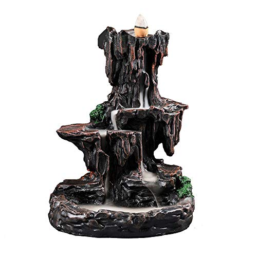 ZLYMX Formulario de montaña Humo de caída del Agua de reflujo Incienso Quemador de Incienso aromático decoración del Aroma del Horno Casa Oficina