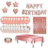 YumSur 83 PZ Decorazioni Compleanno Rose Oro per Ragazzi Festone di Compleanno Happy Birth...