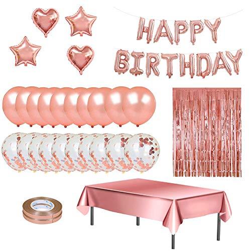 YumSur 83 Stück Geburtstagsdeko Rosegold Deko,Happy Birthday Girlande Konfetti Ballons Tischdecke Rosa Gold Luftballons Glitzer Vorhang Konfetti Herz Stern Folienballon für Party Geburtstag Deko