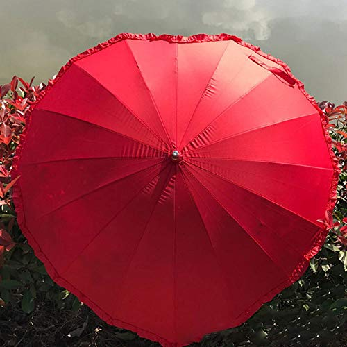 GNNHY Rouge Stick Paraplu, Creatieve Hartvorm/Liefde Paraplu, Huwelijk Bruid Lange Handvat Zonnige Regen Paraplu - Rood