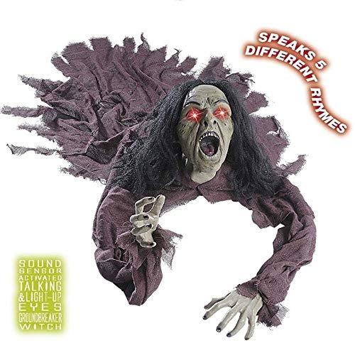 SSITG Sorcière avec Yeux Lumineux activés par Les Yeux – 160 cm Décoration Halloween