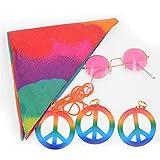 fdsfa Conjunto de traje hippie, accesorio de vestidor hippie, estilo hippie, collar y pendientes de signo de paz, accesorio hippie, diadema de girasol, gafas de sol redondas hippie de los años 60 y 70