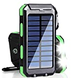 Solar Charger, 20000mAh Solar Power Bank Portable Charger for Camping External Battery Backup Charger with Dual 2 USB Port/LED Flashlights for iPhone Android Cellphone
