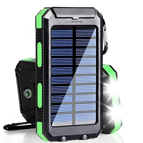 Solar Charger, 20000mAh Solar Power Bank Portable Charger for Camping External Battery Backup Charger with Dual 2 USB Port/LED Flashlights for All Smartphone, Tablet and Android Cellphone