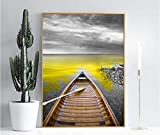 ganlanshu Pintura sin Marco minimalismo nórdico mar Dorado y decoración de Barcos Pintura Lienzo Arte de la Pared Pintura ZGQ4084 40X60cm