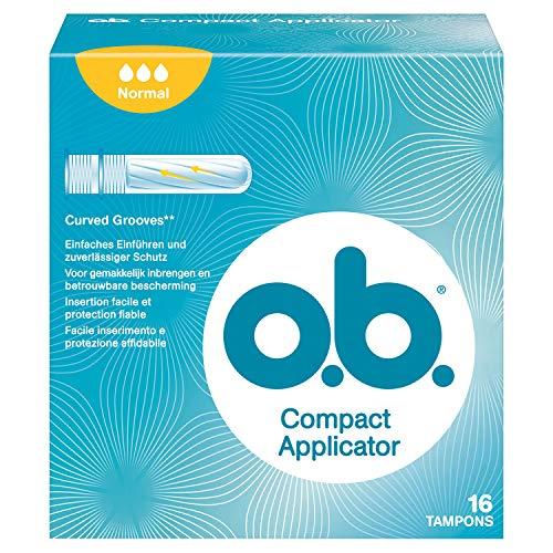 o.b. Compact Applicator Normal Tampons mit geschwungenen Rillen und Einführhilfe – Zuverlässiger Schutz gegen Auslaufen bei normalen Blutungen – 1 x 16er Pack