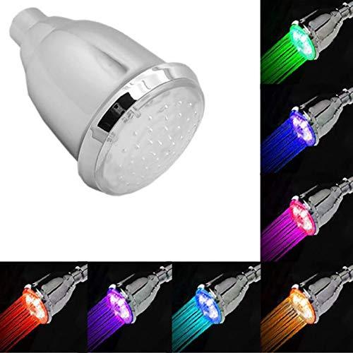 XHSHLID LED douchekop voor de Domestic badkamer, RGB 7 gekleurde LED-douchekop, gekleurd, voor badkamer en douche