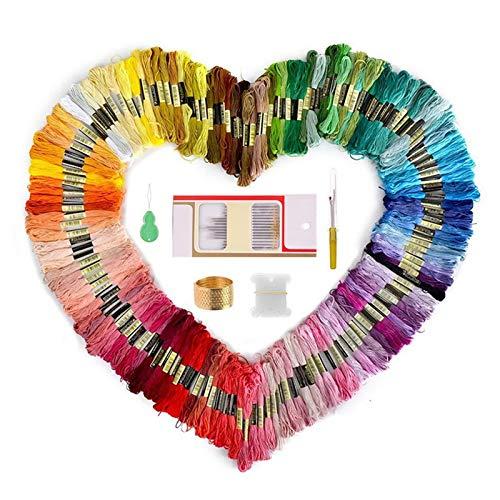 mreechan Hilos de Bordar,Madejas de Hilos 150 Colores,Bordado Kit de Hilos Cross Stitch Bordado Hilos Punto de Cruz Línea de Costura Coser Hilos Conjunto de Agujas Bordado. (150 colors)