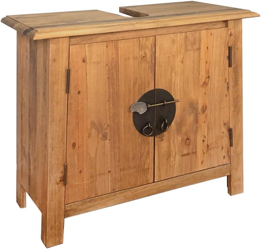 Mueble Lavabo estilo retro Armario Bajo para el Baño Con gran compartimento y Estantes Mueble Bajo para Lavabo Madera de pino reciclada maciza for Champú, detergente para ropa 27,6x12,6x24,8 in