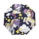 Unicornio púrpura paraguas mujeres niñas hombres cierre automático pequeño bolsos lluvia Sunday señoras 3 plegable