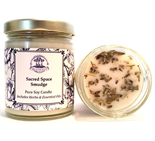 Art of the Root Sacred Space Soy Herbal Smudge Candle 8 oz with Lavender, Sage & Cedar for Purification, Negative Energy & Serenity