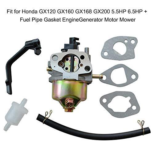 QIUXIANG Carburador de carbohidratos en Forma for Honda GX120 GX160 GX168 GX200 5.5HP 6.5HP + Tubería de Combustible Junta EngineGenerator Motor del cortacéspedes Accesorios