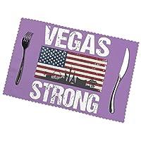 食卓ランチョンマットVegas Strong ランチョンマット プレートマットスタイリッシュで耐久性防汚断熱マット 6ピースセット家庭用およびレストラン用の卓上装飾プレースマットの