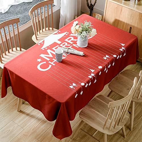 ENCOFT Tovaglia Natalizia da Tavola Antimacchia Tovaglie Rettangolare Impermeabile per Natale Festa Decorazione in Poliestere Rosso 150x210cm 6-8 Posti