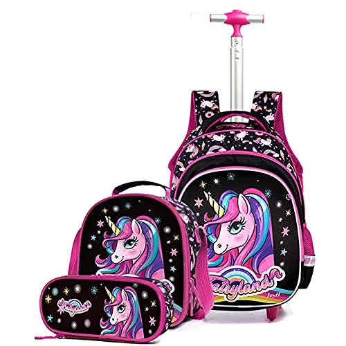Primäre Rollrucksäcke Set für Jungen Mädchen - Kinder Trolley Schultasche Abnehmbarer Rucksack für Teenager mit Rädern Reisegepäck mit Lunchpaket Federmäppchen