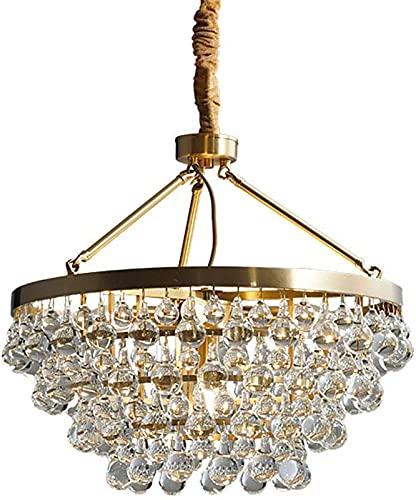 FDGSD Candelabro de Cristal Raindrop 5 Luces Colgante de luz Montaje Semi Empotrado Cobre Colgante Luz de Techo Ajustable Boda Dormitorio Sala de Estar Cocina Isla Iluminación-Cobre 5 Luces