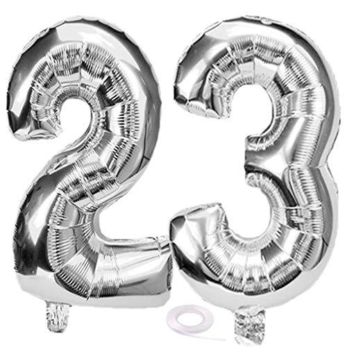 SNOWZAN Luftballon 23. Geburtstag Silber Mädchen Junge Zahl 23 Riesen Folienballon Helium Nummer 23 Luftballon Große Zahlen 23 Jahre XXL 23. Happy Birthday 32 Zoll Riese Zahl 23Geburtstag für Party