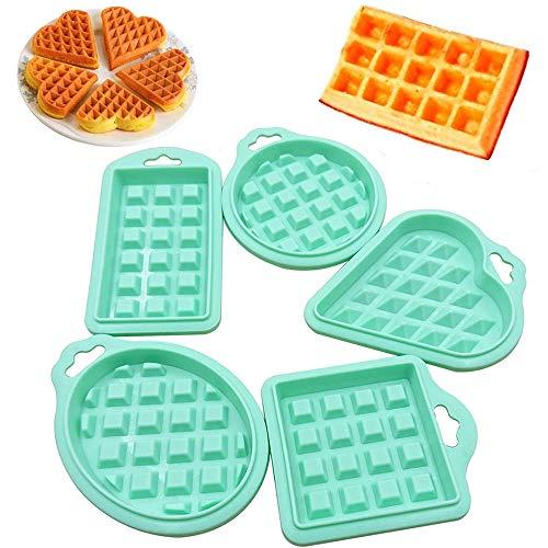 5 Piezas Molde Gofres Silicona Moldes, Herramienta de Molde de Silicona Waffle Mold, Molde de Cuadrícula Molde Mini de Silicona, para Pasteles, Chocolates, Waffles, Etc