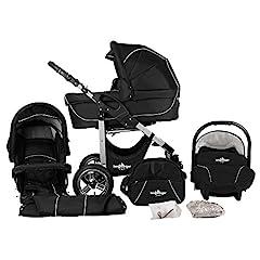 Wózek alpinista Capri 3 w 1 wózek combi Megaset 10 z nosidełkiem dla dzieci, wanną dla niemowląt, samochodem sportowym i akcesoriami