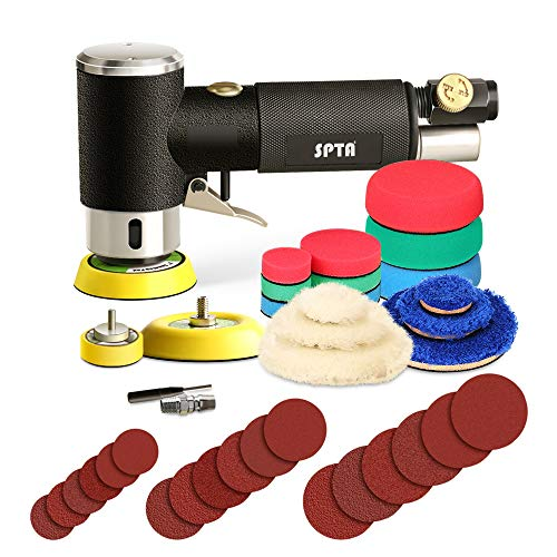 SPTA 25mm 50mm 80mm Exzenterschleifer Druckluft Winkelschleifer Poliermaschine/Polierer mit 23tlg Polierschwämme Polierpad Polierschleifmaschine Set und Polierfell Polierset Polierteller Kit